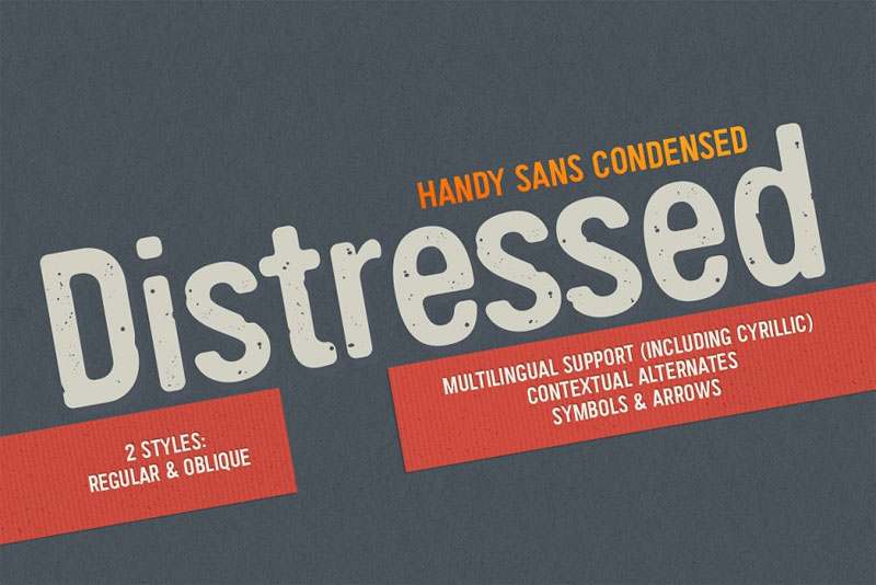handy sans condensed distressed distressed font