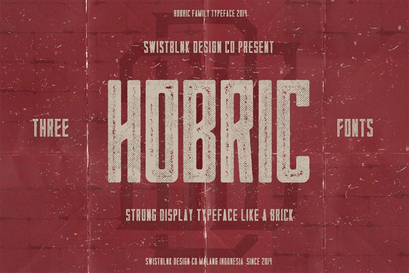 hobric family typeface distressed font