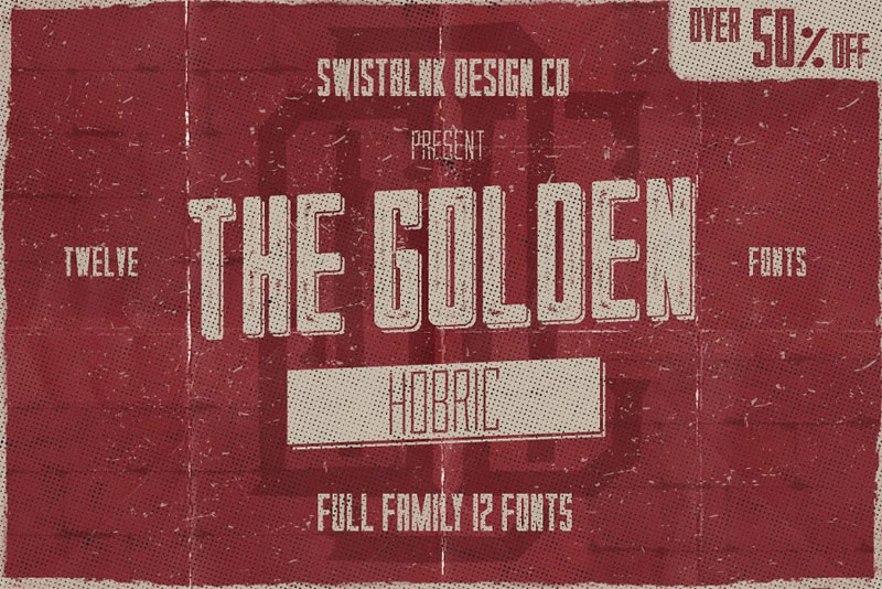 hobric full family typeface distressed font