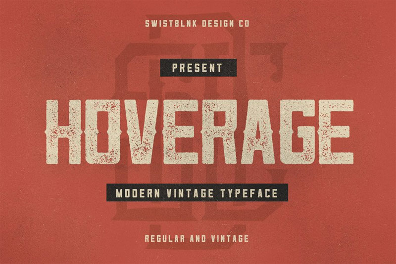 hoverage typeface distressed font