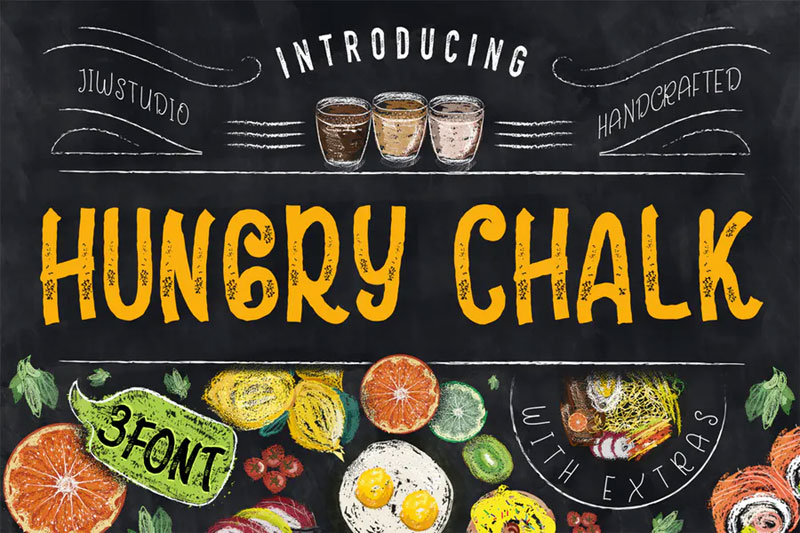 hungry chalk typeface + extras chalkboard font
