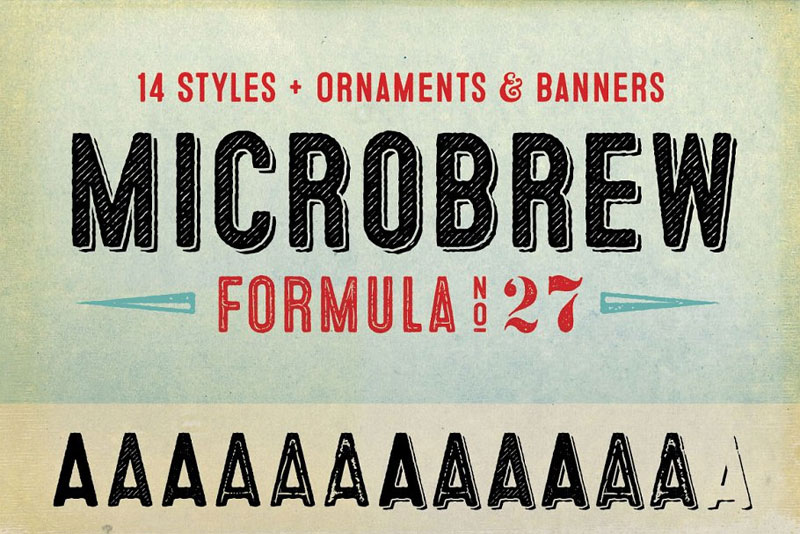 microbrew complete family distressed font