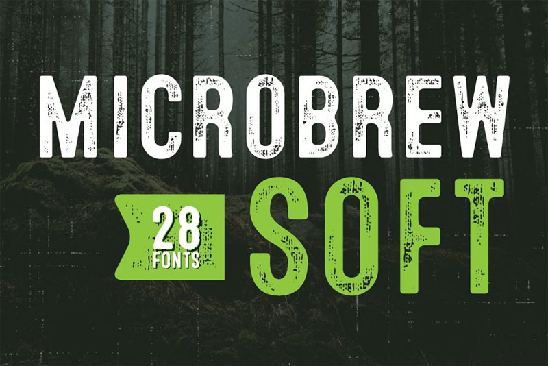 microbrew soft mega family distressed font