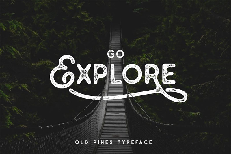 old pines vintage type distressed font