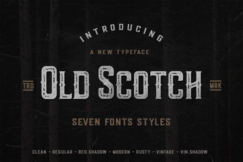 old scotch typeface 7 styles distressed font