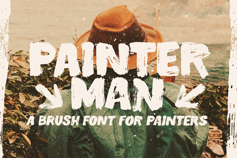 painterman brush distressed font