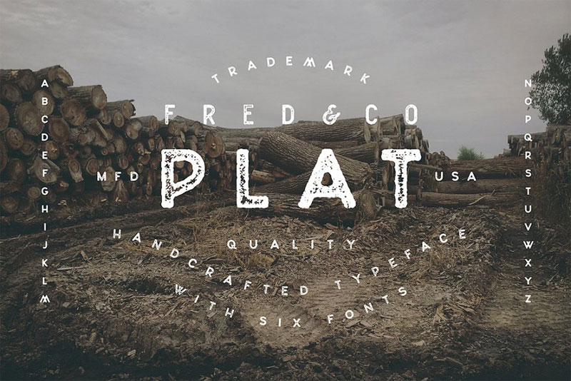plat distressed font
