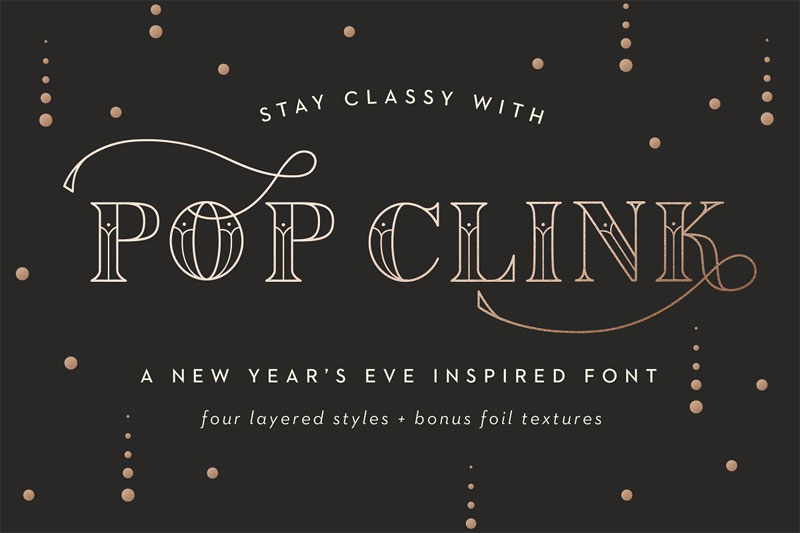pop clink art deco font