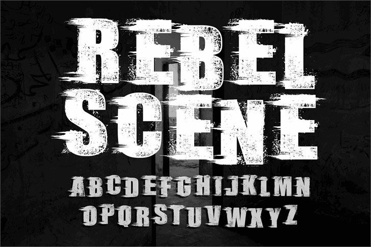 rebel scene_demo distressed font
