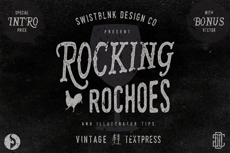 rocking rochoes typeface distressed font