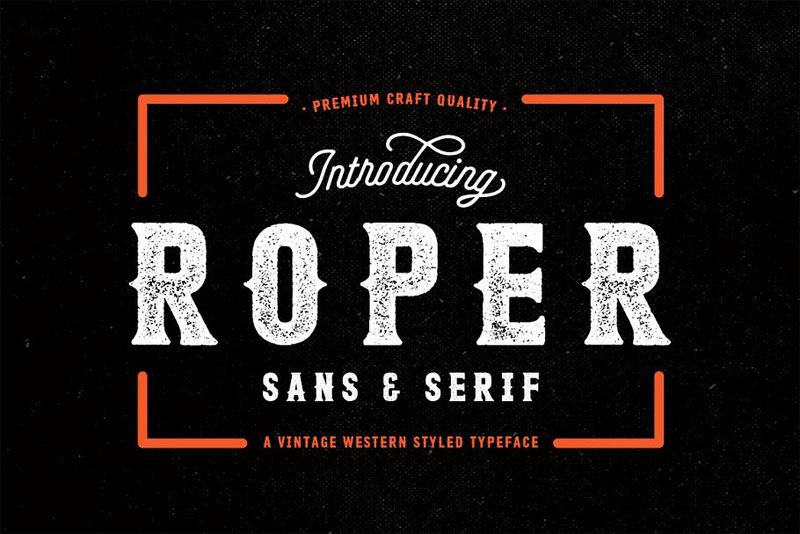 roper distressed font