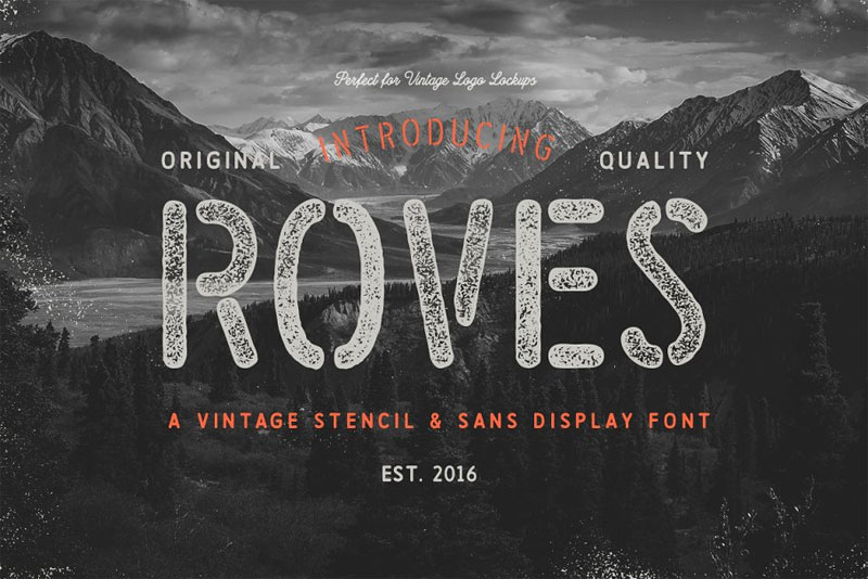 roves family industrial font