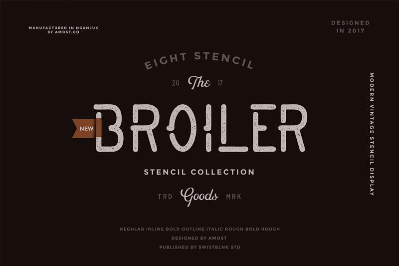 smbrn stencil collection distressed font