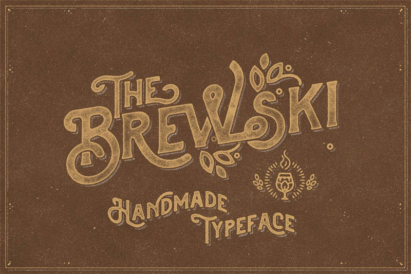 the brewski textured typeface distressed font