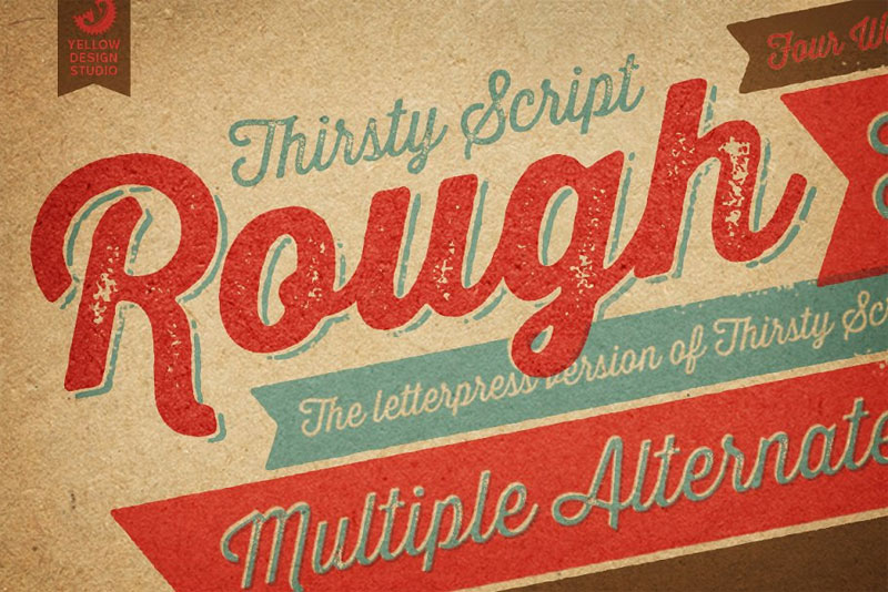 thirsty rough complete family distressed font