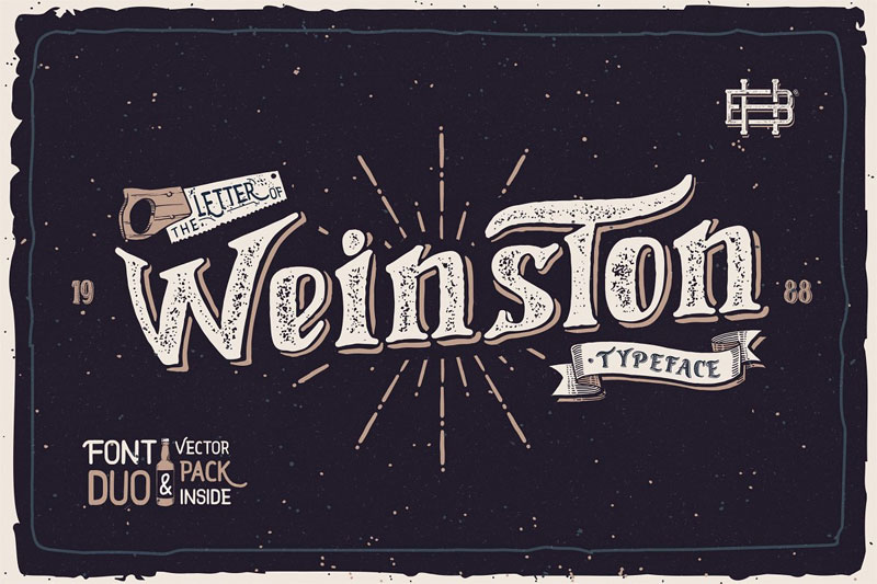 weinston typeface + extras distressed font