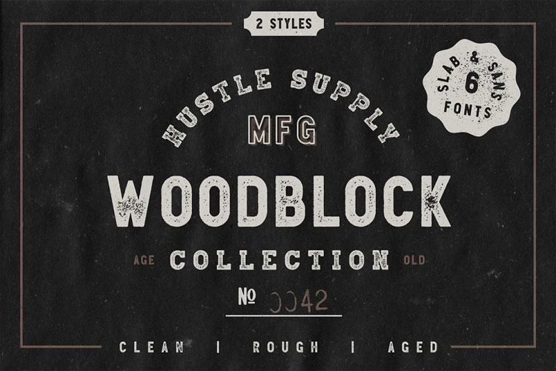 woodblock collection sans & slab distressed font