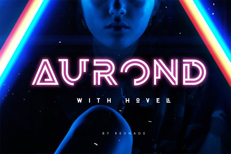 aurond with hovell futuristic font
