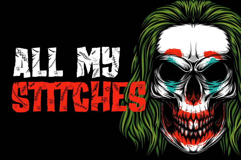all my stitches horror and scary font