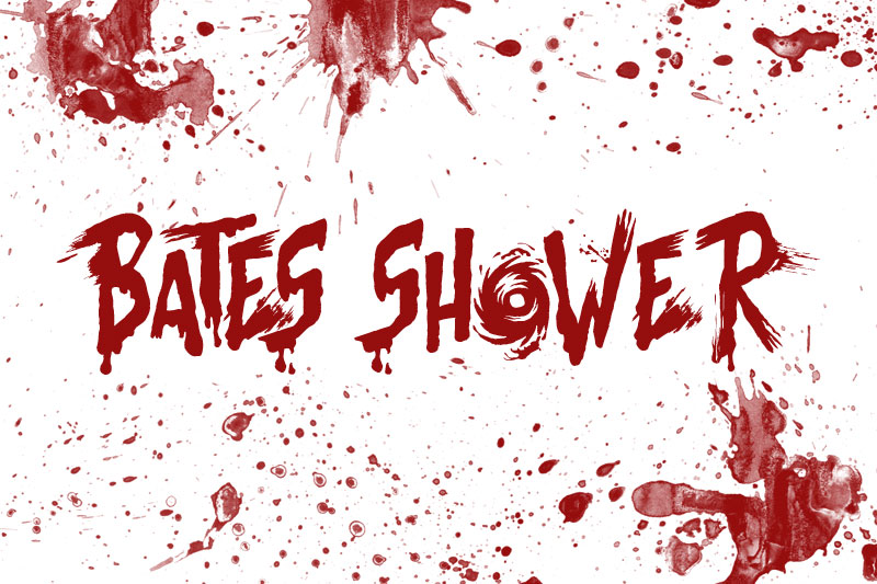 bates shower horror and scary font