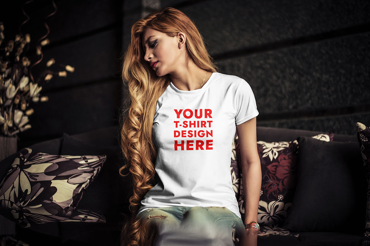 Young Woman T Shirt Mockup Psd Download For Free Hyperpix