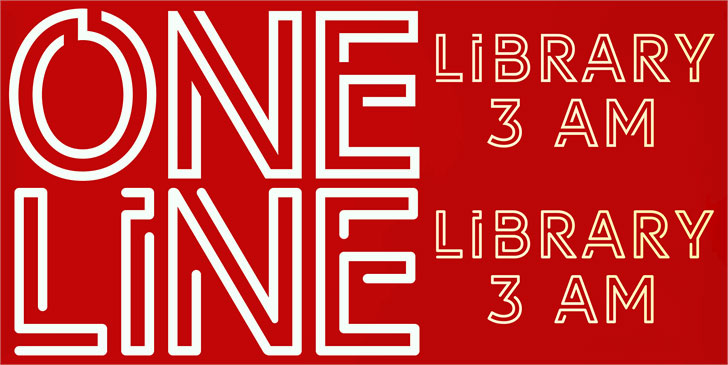 library 3 am neon font