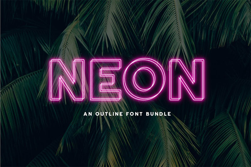 neon an outline neon font