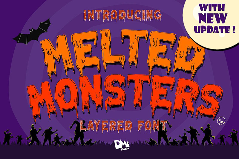 melted monster halloween pack witch font
