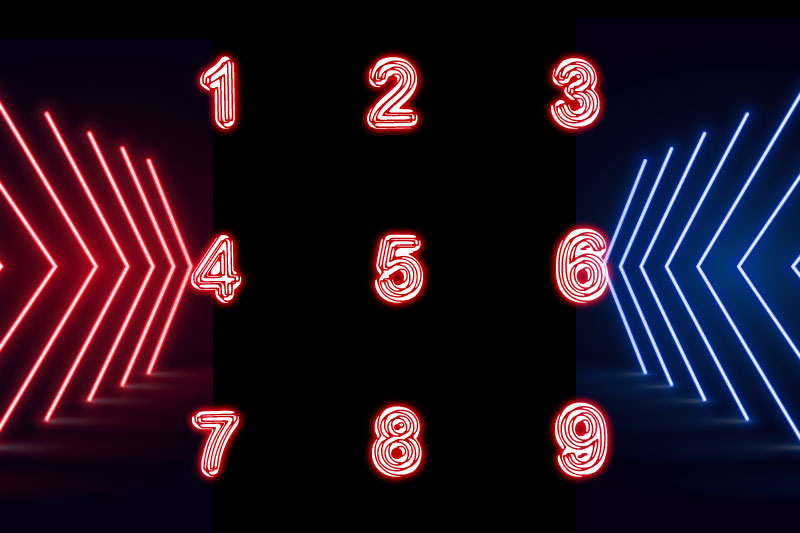 neon disco number font
