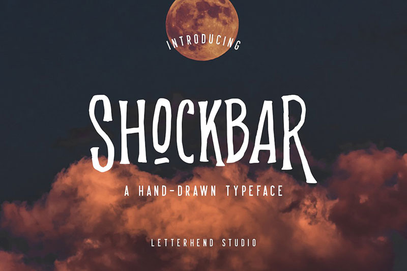 shockbar hand drawn typeface witch font