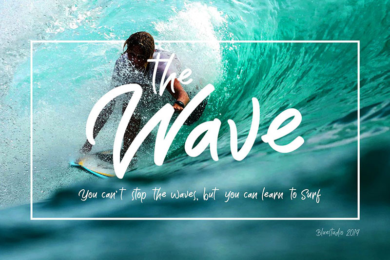 the wave display wave font