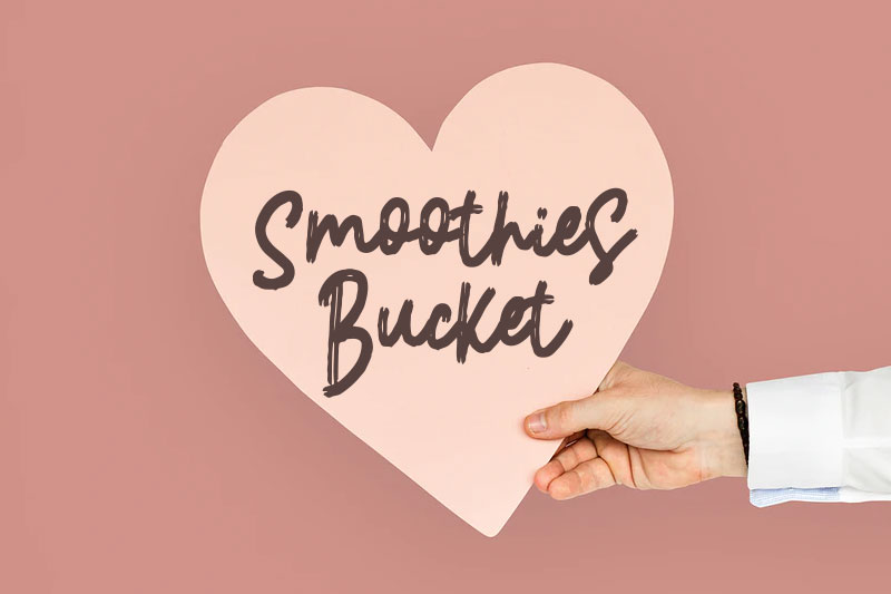 smoothies bucket thank you font