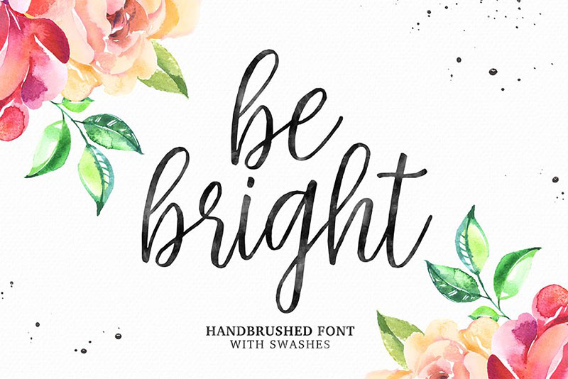 be bright swashes flower font