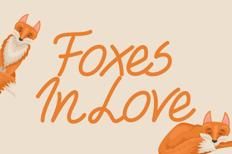 foxes in love animal font