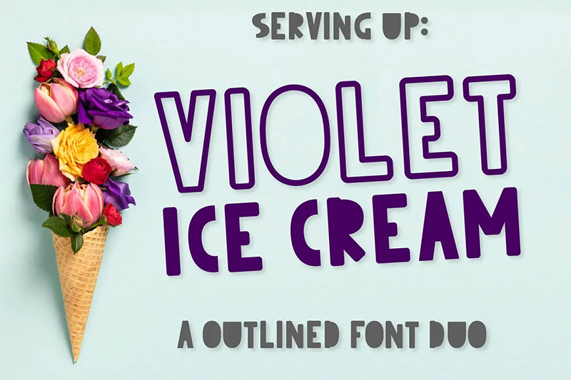 violet ice cream an outlined duo ice cream font