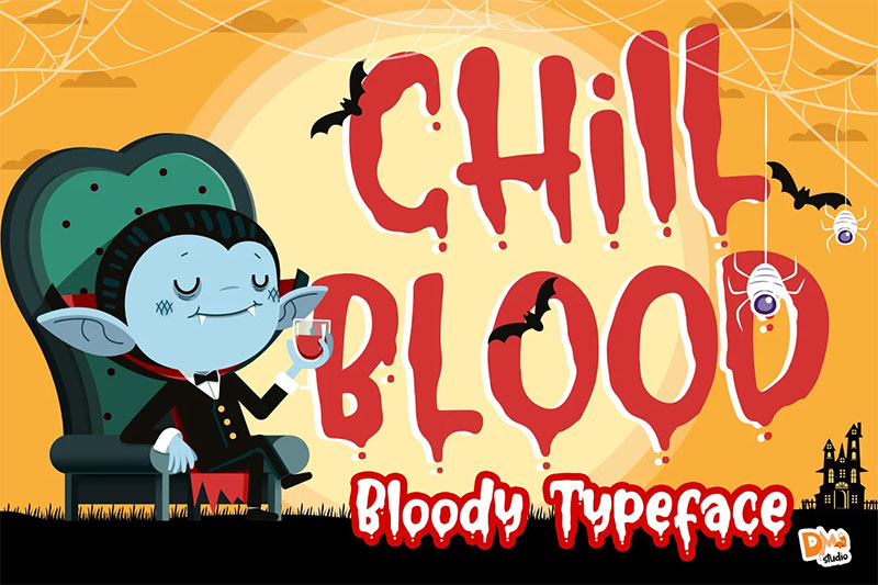 chill blood bloody typeface dripping font