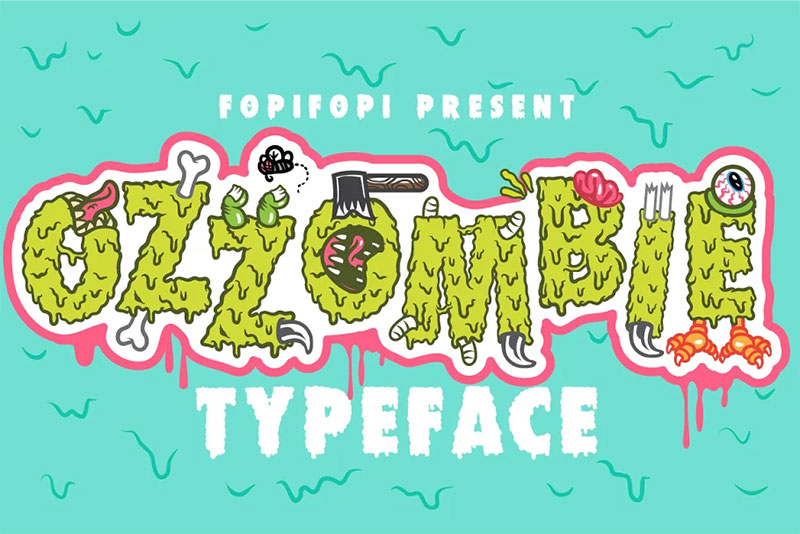 ozzombie typeface dripping font