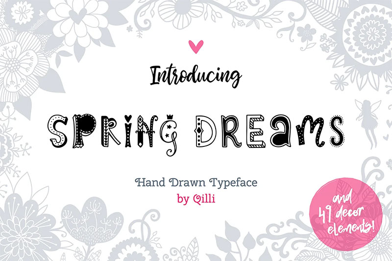 spring dreams typeface with clipart scandinavian font