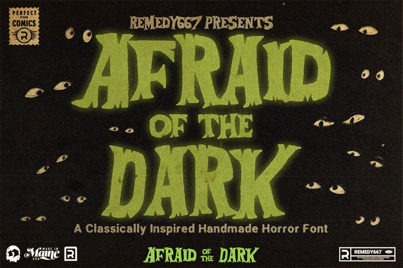 afraid of the dark horror and scary font