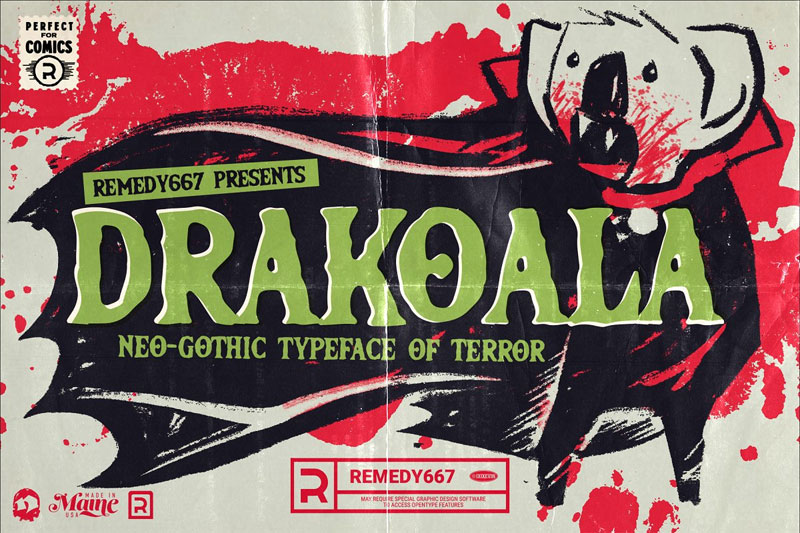 drakoala neo gothic horror and scary font