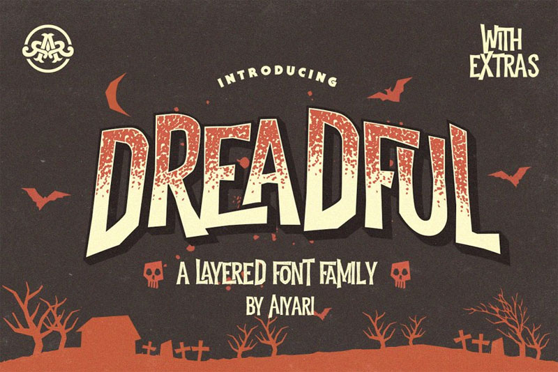 dreadful +extras horror and scary font
