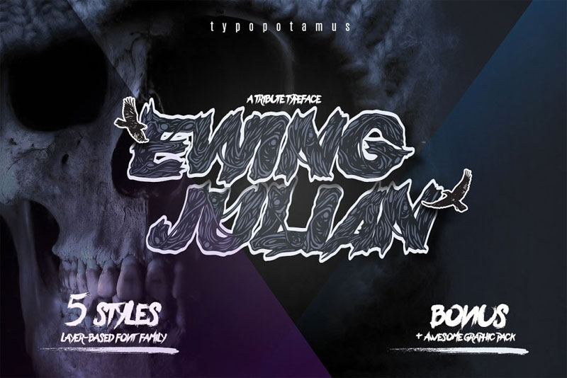 ewing julian layered typeface horror and scary font