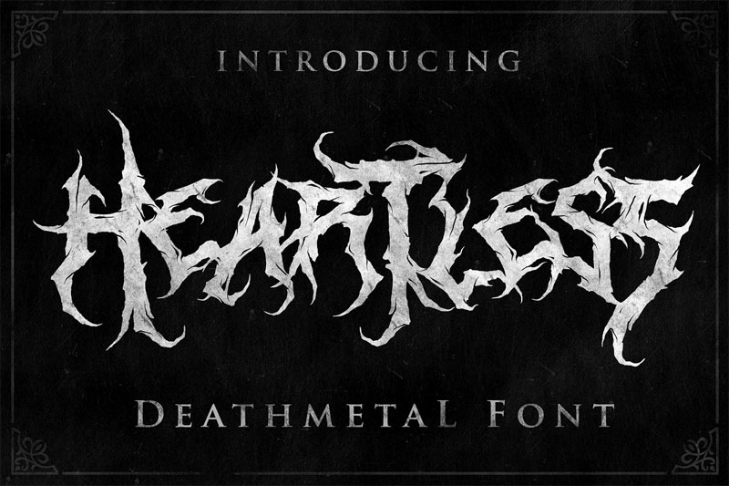 heartless great deathmetal horror and scary font
