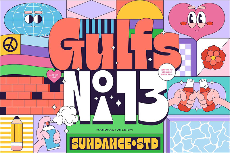 introductory gulfs display 90s fonts
